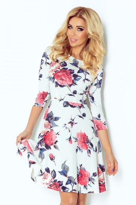 49 13 Rozkloszowana sukienka z rękawkiem 34 duże kwiaty